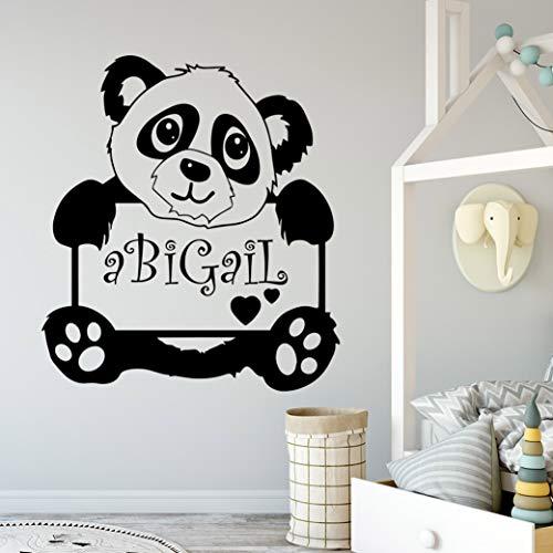 wZUN Nombre Personalizado Panda Impermeable Pegatinas de Pared decoración de Pared Impermeable 42X46cm
