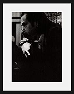 Stick It On Your Wall Nick Cave - Black & White Portrait (White Mount) Framed Mini Poster - 44x34cm