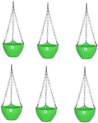 SHANDHYA Plastic Zenith Basket Set of 6 pcs 8inch Green Color