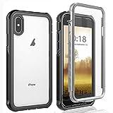 AICase Funda iPhone X/Funda iPhone XS,Transparente y Resistente,Case Protectora con Protector de Pantalla Incorporado para iPhone X/XS