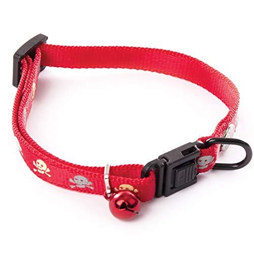 Martin Sellier - Collar para perro o gato con decoración de calavera reflectiva y cascabel ajustable de 20 a 30 cm, color rojo