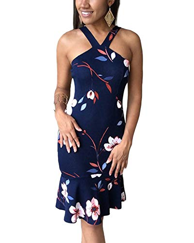 YOINS Sommerkleid Damen Sommerkleider Etuikleid für Damen Knielang Hoch Taille Maxikleider Ärmellos Neckholder Strandkleid Knielang Figurbetonte