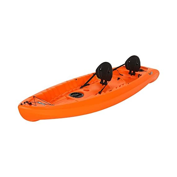 """Lifetime Kokanee Sit-On-Top Kayak, Orange, 10'6"""" 3 Constructed of UV-Protected High-Density Polyethylene (HDPE). Hull Design Provides Ultra Stability & Great Tracking. Scupper Holes Drain Cockpit Area Scupper Holes Drain Cockpit Area. Easy Carry Handles. Multiple Footrest Positions for Different Size Riders 2 Ditty Trays and Shock Cord Straps to Secure Loose Items. Optional Third Jump Seat"""