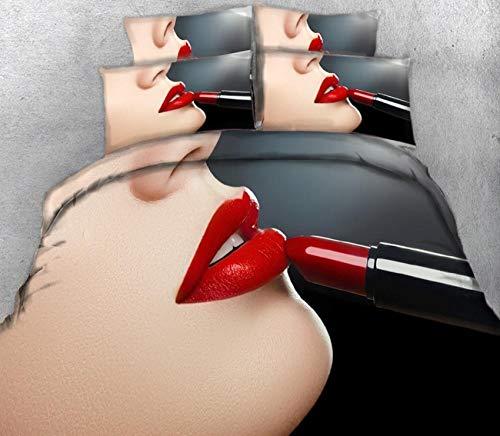 Microvezel Dekbedovertrek Set Lippenstift Rode Lippen Vrouw Patroon Hypoallergeen Beddengoed Set Quilt Cover met Kussen Case Zacht en ademend met Ritssluiting