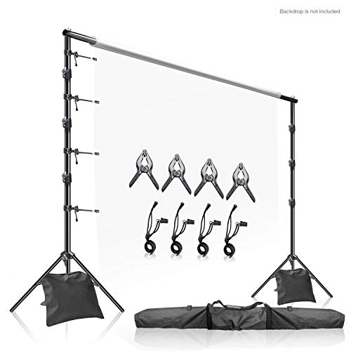 LimoStudio Photo Video Studio 10' x 9.4' (W x H) Adjustable Muslin Backdrop Stands, Background Backdrop Support Kit with Super Clamps, Backdrop String Clip Holders, Sandbags, Carry Case Bag, AGG2862
