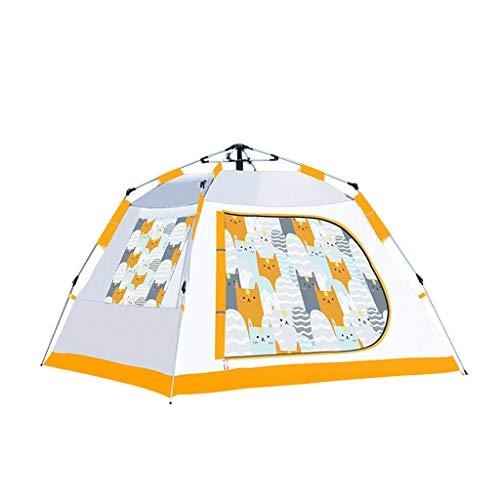 LZL Carpas Automática surgen la Tienda de la Familia de Gato Carpa Patrón Camping 3 4 3 Persona con Malla de Windows Tienda inmediata a Prueba de Agua Tienda al Aire Libre (Color : Yellow)