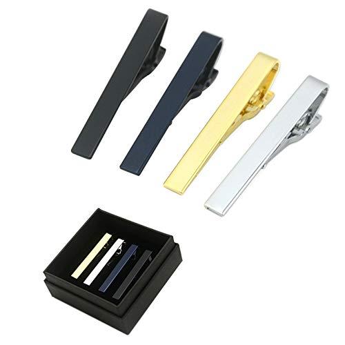 Bemin ネクタイピン 4個セット 収納ボックス付き タイピン メンズ タイクリップ セット 面白ネクタイピン レディース ネクタイ ピン クリップ式 人気 銀色 ブランド タイプ3
