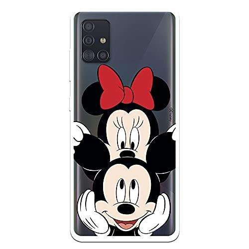 Funda para Samsung Galaxy A51 Oficial de Clásicos Disney Mickey y Minnie asomado para Proteger tu móvil. Carcasa para Samsung con Licencia Oficial de Disney.