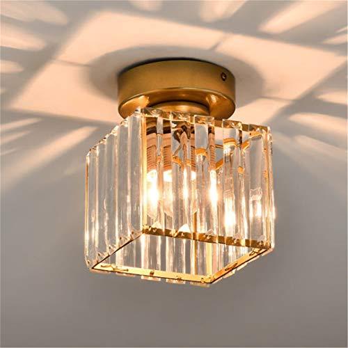 Luces de techo LED Lámparas de techo de cristal de oro nórdico para balcón Pasillo de entrada Corredor de aseo warm white 15cm square