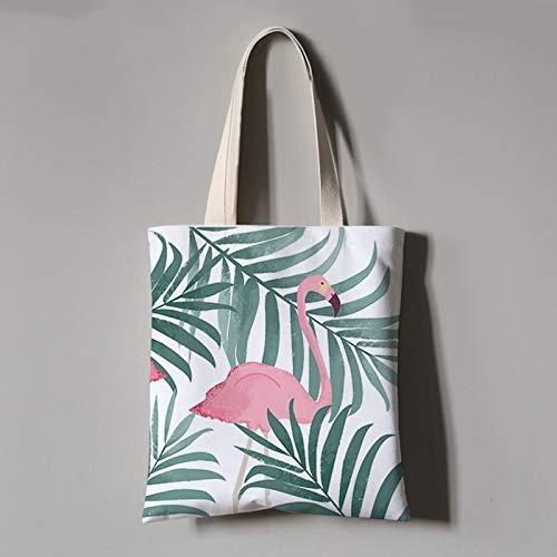 DX Einkaufstasche, grün gestreifte Pflanze Flamingo Tier Student Canvas Tasche tragbare grüne Einkaufstasche Unisex tägliche Pendeltasche Student Arbeit Hausfrau Faltbare Waschmittel, Mittel (3