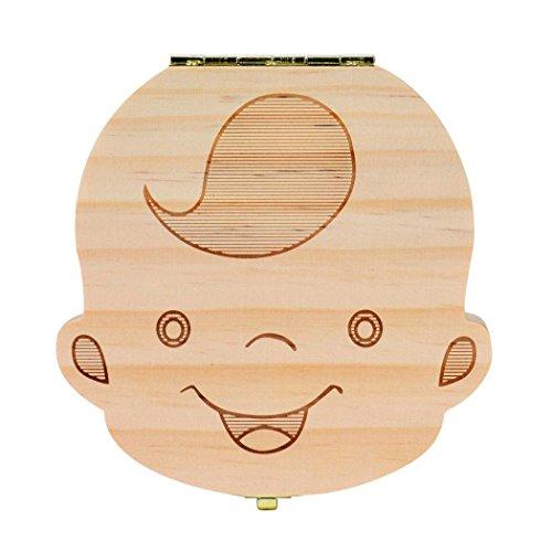 Tefamore Caja del Colección diente para el bebé cajas de almacenaje de madera para los cabritos Muchacho y muchacha Organizador de la Dientes de la leche Ahorre cuadro de hoja caduca lanugo (B)