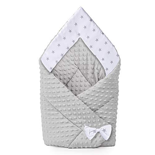 coperta per avvolgere il bambino Swaddle Neonato - Sacco a pelo per neonati, coperta invernale per bambini, Copertina Neonati cotone Minky 80 x 80 cm (grigio)