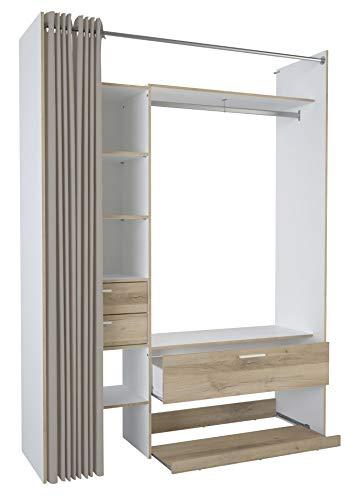 Miroytengo Armario vestidor ropero Abierto Dormitorio Moderno Blanco y Roble 3 cajones 162x50