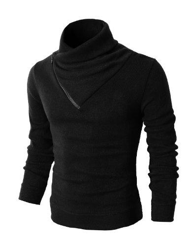 H2H Mens Fashion Turtleneck Slim Fit Pullover Sweater Oblique Line Bottom Edge Black US S/Asia M (KMTTL041)
