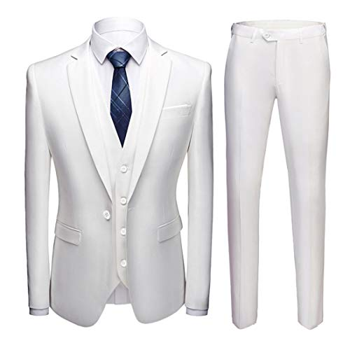 MY'S Men's 3 Piece Slim Fit Suit Set, One Button Solid Jacket Vest Pants with Tie Natural White, Medium