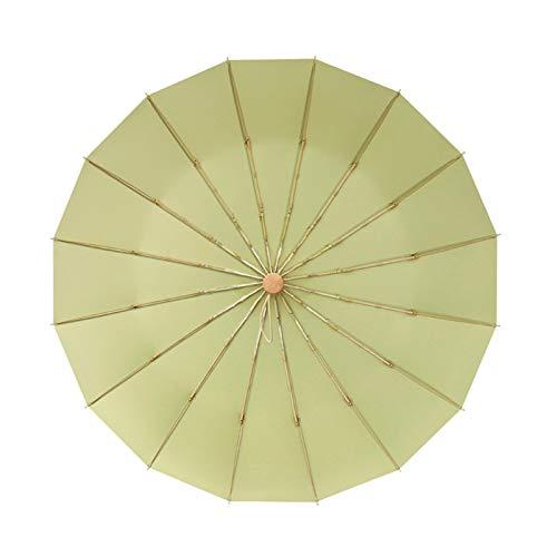 YXIUER 16 nervature Ombrello Pieghevole da Pioggia Donne Navy Kaki Rosa Nero Verde Ombrello da Donna Maschio Antivento Protezione Pioggia per la Ragazza (Color : Tender Green)