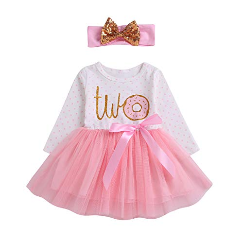 2Pcs Baby Girls Tutu Dress 1st Birthday Outfit Donut Letter Print Top Tulle Tutu Skirt with Headband Outfit Set (Two Long Sleeve, 2-3T)