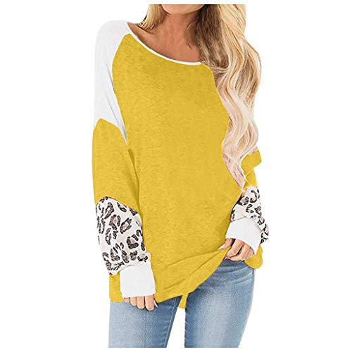 Great Deal! Muranba Womens Tops Long Sleeve Round Neck Leopard Sweatshirts Pullover Top Blouse