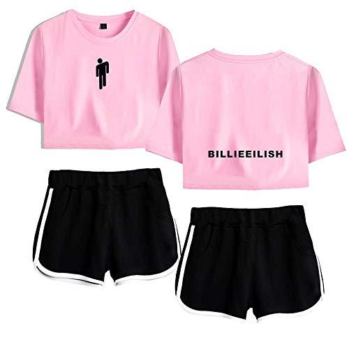 AAZZYUN Billie Eilish niñas Suelta 3D de impresión Superior y Pantalones Cortos de la Camiseta de la Manga 2 Piezas chándal Ropa con Estilo de Yoga