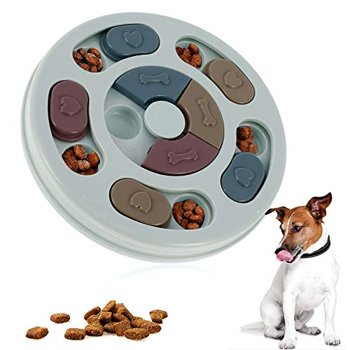 WELLXUNK Juguete de Puzzle para Perros, Alimentador Interactivo para Cachorros, Juguetes para Perros de Comida Lenta, Juguetes de Rompecabezas Antideslizantes para Perros, Cachorros y Gatos