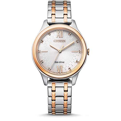 CITIZEN Damen Analog Eco-Drive Uhr mit Edelstahl Armband EM0506-77A
