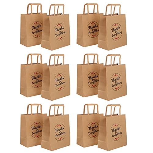 cabilock 12 Bolsas de Regalo de Gracias Bolsas de Regalo de Papel Kraft Marrón Bolsas de Papel Kraft con Asa Bolsas de Gracias para Negocios Pequeñas Bolsas de Papel con Asas Bolsas de