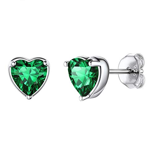 925 Sterling Silver Birthstone Earrings May Wedding Bridesmaid Jewelry Dainty Emerald Crystal Love Heart Stud Earrings Personalized Birthday Valentines Christmas Gifts for Women Girls