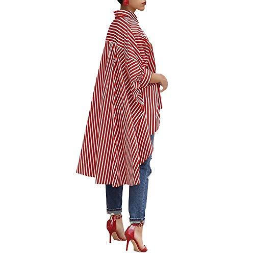 TOPKEAL Top Damen Sommer Herbst Casual Bluse mit Knopfleiste Bluse Baumwoll Streifen Shirt mit Dreiviertel Hemd 2020 Mode Tops