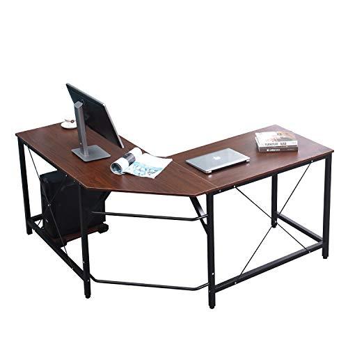 DlandHome Computertisch Eckschreibtisch 150 cm + 150 cm Winkelschreibtisch L-förmig, großer Gaming Schreibtisch Arbeitstisch Bürotisch PC Laptop Studie Tisch mit CPU-Ständer Nussbaum