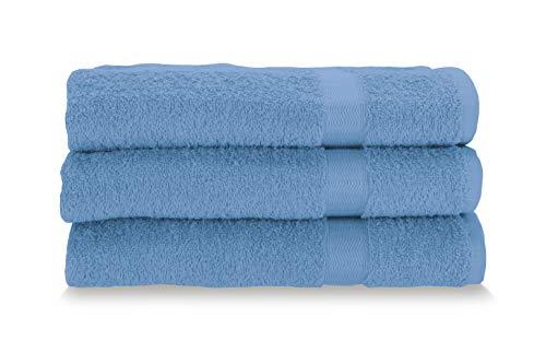 Gabel Asciugamani Viso, Spugna di Puro Cotone Idrofilo, 60 x 100 cm, Bluette, Set da 3 Pezzi