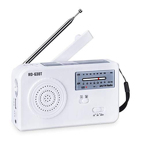 Olycism FM AM Radio Portatile solare e manovella d'emergenza Solar radio con 500mAh Power Bank e Porta per auricolari e Allarme SOS Torcia e PAWERBANK per Smartphone