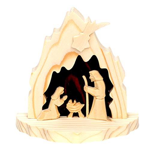 Dekohelden24 Wunderschöne handgeschnitzte Mini Krippe, heilige Familie, ca. 10 cm