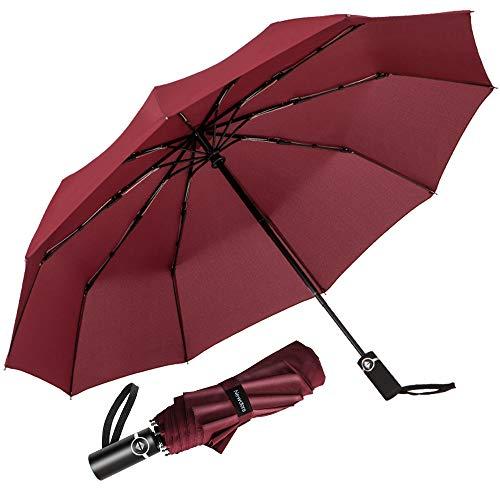 Newdora Regenschirm Taschenschirm Windproof sturmfest Auf-Zu Automatik 210T Nylon Umbrella wasserabweisend klein leicht kompakt 10 Ribs Reise Golfschirm mit Trockenbeutel(Weinrot)
