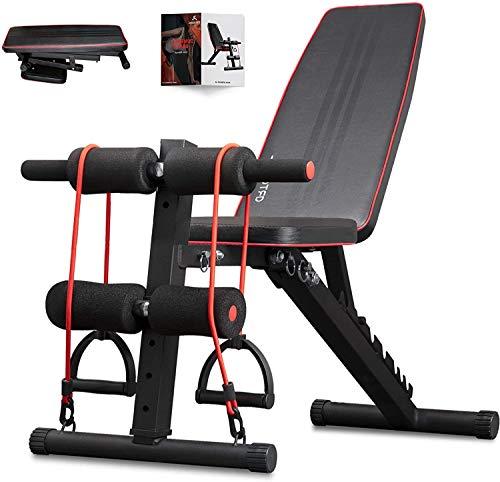 arteesol Banco de pesas plegable, banco de entrenamiento con pesas, banco de entrenamiento multifunción para entrenamiento de cuerpo entero (negro-R1-T1)