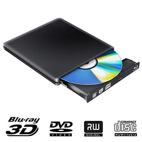Externe Blu Ray CD DVD Laufwerk 3D, Tragbar USB 3.0 USB Type C Bluray CD DVD RW Rom Player für PC MacBook iMac Mac OS Windows