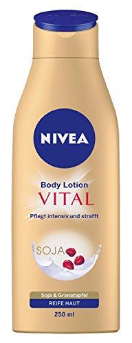 Nivea Vital Körper Lotion, 1er Pack (1 x 250 ml), pflegt intensiv und strafft, Soja & Granatapfel, für Reife Haut