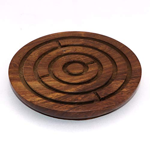Handcrafted Indian Wooden Labyrinth Ball Maze Puzzle Game & Decoration