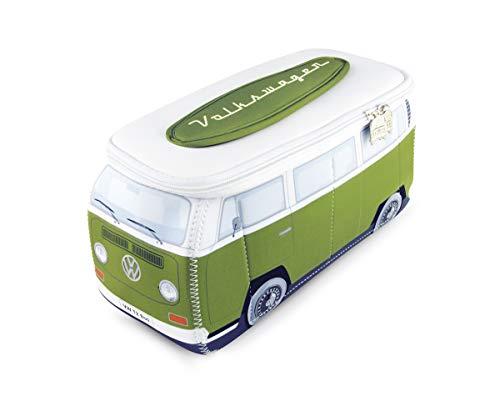 BRISA VW Collection - Volkswagen Combi Bus T2 Camper Van 3D Trousse de Maquillage en Néoprène, Sac à cosmétiques, Nécessaire de Toilette/Culture, Étui de Voyage, Universel, Lunch-Box (Blanc/Vert)