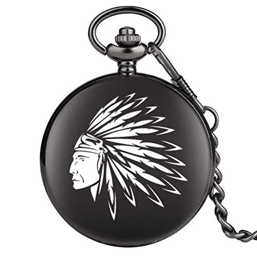 Delicate Indians Pattern Reloj de caja negra para mujer, prácticos relojes de bolsillo con números árabes para hombre, reloj colgante de cadena gruesa de aleación de utilidad para hombre, reloj de bol