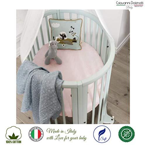 Giovanni Dolcinotti Baby Collection | Set de 1 Drap-housse pour Berceau Compatibles Stokke Sleepi 122x69 cm - 100% Coton, Fabriqué en Italie, Rose
