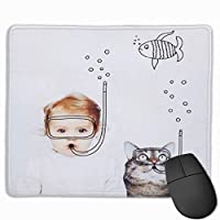 赤ちゃん ねこ 魚 マウスパッド 運びやすい オフィス 家 最適 おしゃれ 耐久性 滑り止めゴム底付き 快適操作性 30*25*0.3cm