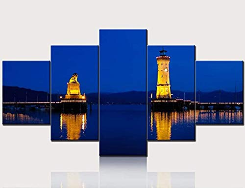 Wall Art Harbor Entrance of Lindau Pictures Canvas Night Scene Painting 5 Pieces Artwork Home Decor for Living Room Poster and Prints Gallery