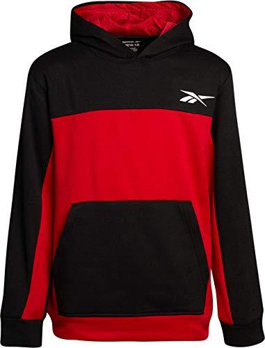 Reebok Boys Athletic Pullover Hoodie, Size Large, Black/Red