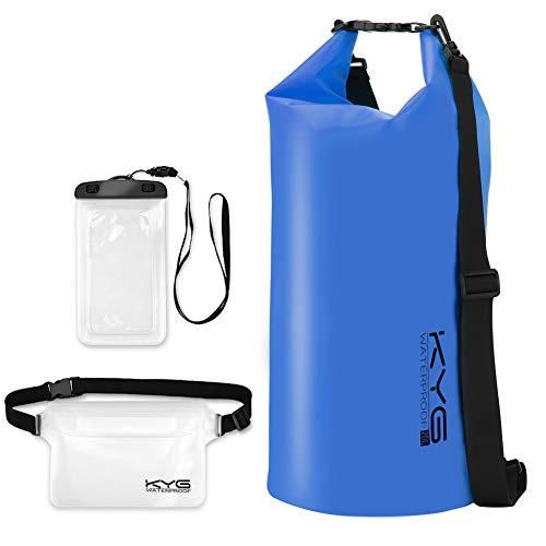 KYG Bolsa Estanca Impermeable 20L Set de Mochila Estanca con Funda de Móvil y Bolsa de Cintura, Bolsa Seca para Playa y Deportes al Aire Kayak Senderismo Esquí Pesca Escalada Camping, Azul