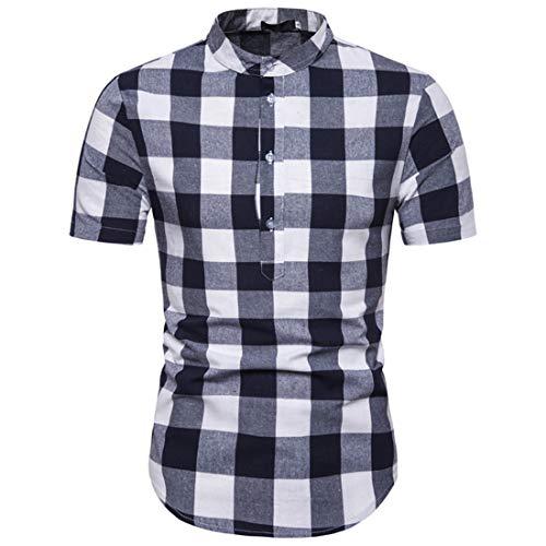 Casuales Camisas Hombre Moda Cuadros Estampado Hombre Shirt Verano Básico Ajustado Manga Corta Botón Placket...