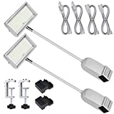 HitLights Trade Show Lights LED Display and Exhibit Arm Lighting, Connectable Tradeshow Lights Included Clamps, Mounting Brackets, Power Cables, Connect Cables(2pcs Silver)