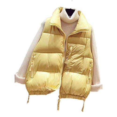 Chaleco ultravillero hacia Abajo, Chaleco Corto de Bodywarmer de Mujer, Abrigo Ligero a Prueba de Viento, Chaqueta Femenina hacia Abajo, Ropa Exterior sin Mangas (Color : Yellow, tamaño : X)
