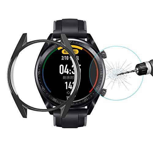 Nueva Shell Watch Para HUAWEI reloj clásico GT / GT Activo / 46mm GT Sport Sombrero-Prince 2 en 1 Cobertura completa electrochapa caso de TPU 0,2 mm 9H 2.15D de borde curvado de vidrio templado de Cin