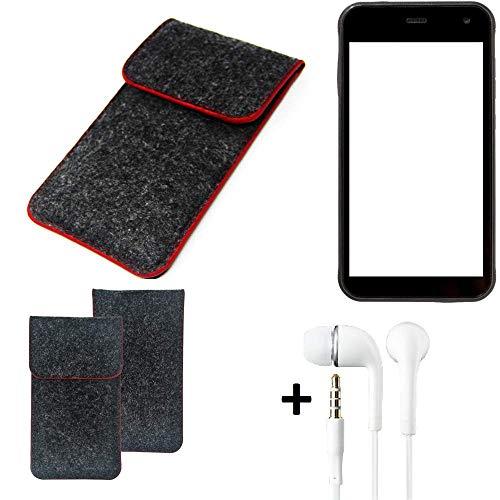 K-S-Trade Handy Schutz Hülle Für Cyrus CS 22 Schutzhülle Handyhülle Filztasche Pouch Tasche Hülle Sleeve Filzhülle Dunkelgrau Roter Rand + Kopfhörer