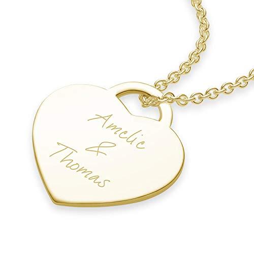 Namenskette Gold (Silber 925 vergoldet) Herz-Kette mit Gravur Gold für 2 o. 3 Wunsch-Namen Kinder Mütter Freundin Mädchen Schmuck Name Halskette Frauen personalisierte individuelle Geschenke